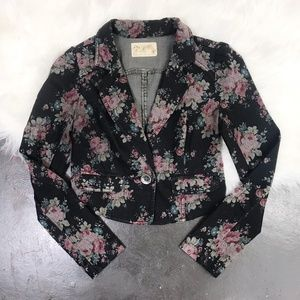 Free People Cotton Floral Cropped Blazer Jacket 2